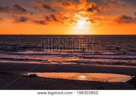 Zelenogradsk city Kaliningrad region. the beach at sunset