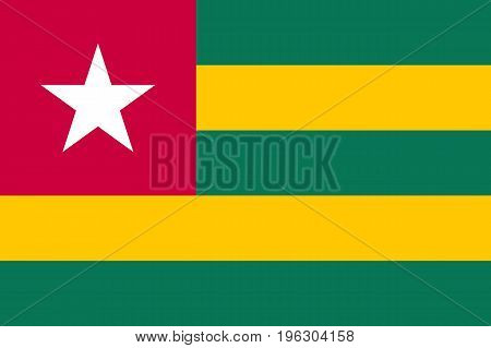 Togo national flag and ensign. Five horizontal bands of green, yellow, a red canton, white five-pointed star. Bright design. Flat style vector illustration