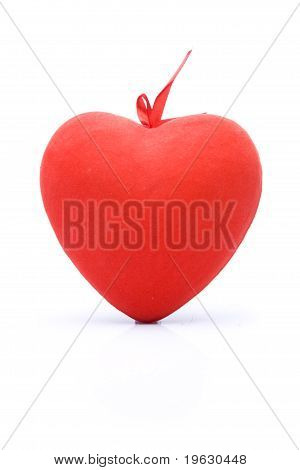 Red Heart Symbol On Isolated White Background