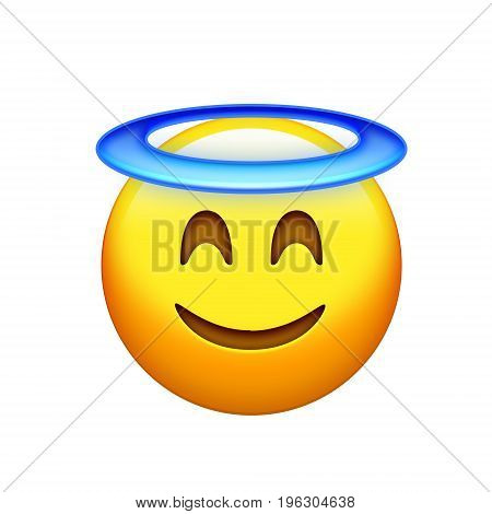 Isolated Yellow Delightful Smiley Face With Angle Halo Icon