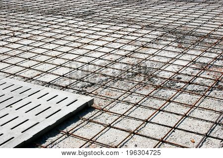 Reinforcement Metal Framework For Concrete Pouring. Ready For Filling Up With Concrete.