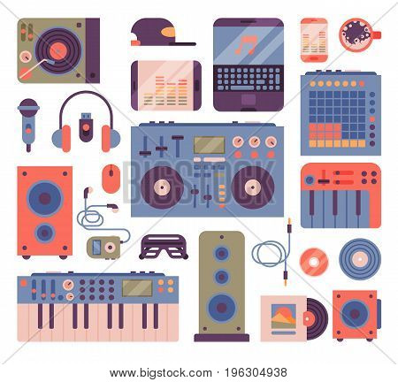 Hip hop or DJ accessory musician instruments breakdance expressive rap music disc jockey vector illustration. Modern fashion person dancer trendy icons lifestyle