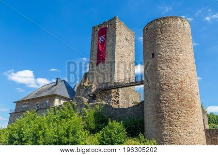 Ruins of the small medieval castle Useldange, Luxembourg.