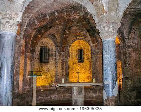 Hdr Santa Maria Assunta Cathedral Crypt In Sutri
