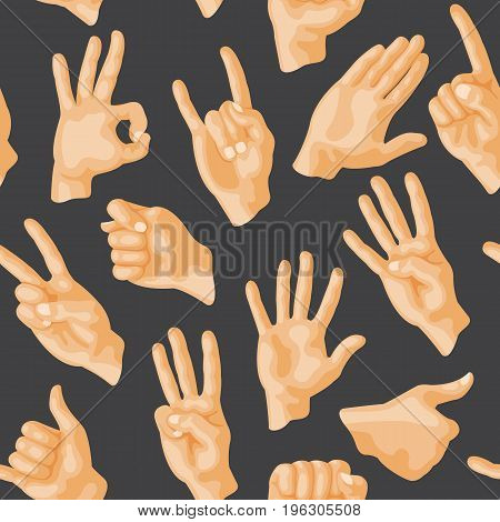 Seamless pattern with various hands gestures dumb seamless pattern background people communication sign symbols vector illustration. Finger message signal body direction.