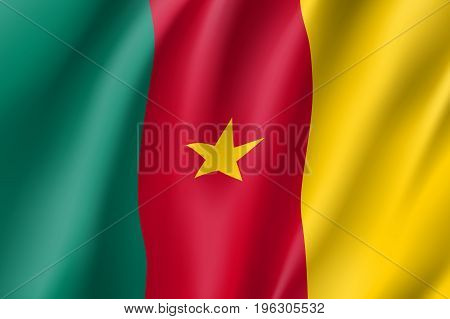 Cameroon national flag. National patriotic symbol in official country colors. Illustration of Africa state waving flag. Realistic vector icon