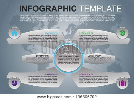 Modern Colorful Infographics Options Template Vector With Wings And World Map. Can Be Used For Web D