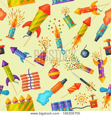 Fireworks rocket and flapper birthday party gift celebrate seamless pattern vector illustration background festival.
