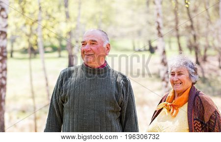 Portrait photo of beautiful happy elderly couple