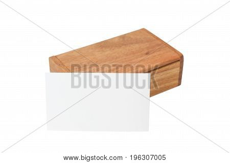 Wooden box made of red wood, for a business card, Isolated on white background.