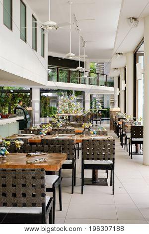 Beautiful elegant interior design beach restaurant with Christmas decoration