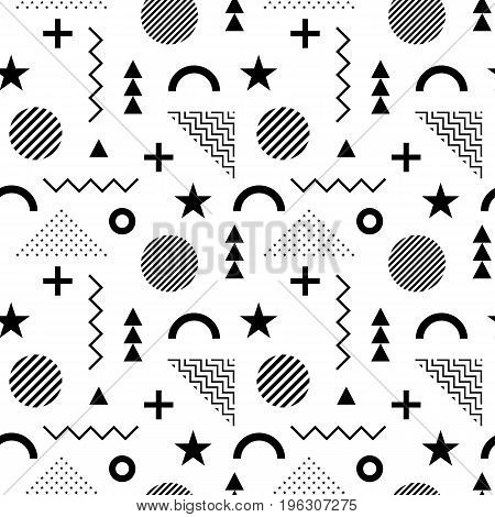 Seamless Pattern In Memphis Style. Abstract Vector Backgrounds W