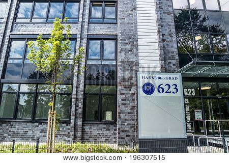 Hamburg , Germany - July 15, 2017: The Hanse 10ter Grad has more than 16500 square meters of offices to let