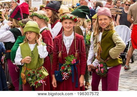 Landshut,Germany-July 15,2017:A group of children taking part in the parades pose for a photo