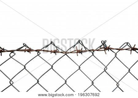 Barbed Wire Mesh Fence Rust Barb Detail Isolated Horizontal Rusty Barbwire Old Aged Weathered Rusted Grey Iron Grungy Large Detailed Macro Closeup Grunge Vintage Security Concept Metaphor