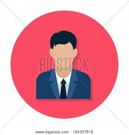 Businessman flat icon. Man in business suit. Avatar of businessman. Flat internet icon in rounded shape. Web and mobile design element. Male profile. Vector colored illustration.
