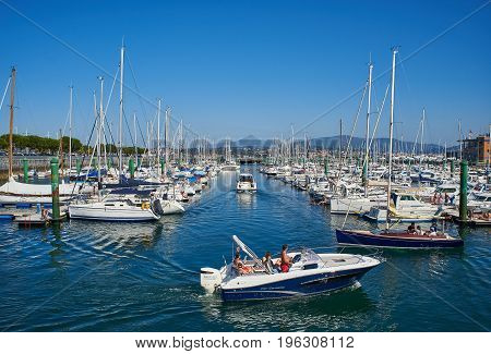 Yachts Moored In Marina Port Of Hondarribia, Basque Country, Spain.