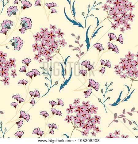 Cute Floral pattern in the small flower. Motifs scattered random. Ditsy print. Seamless vector texture. Printing with small colorful flowers. Pink blue plants on white background.