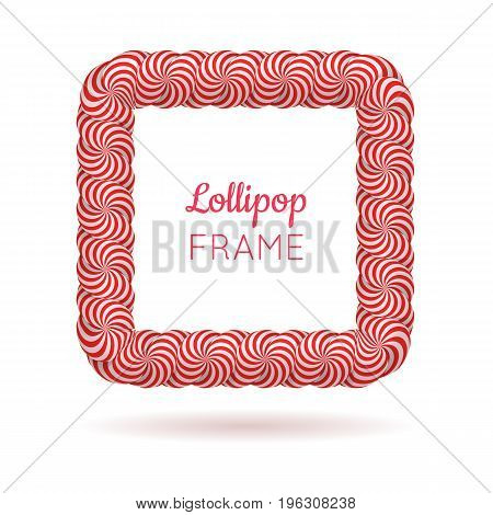 Lollipop red square frame. Candy design for photo album and scrapbook to store favorite memories and pictures. Realistic vector illustration on white background