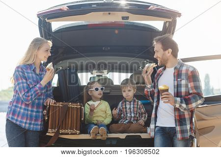 Travel by car family together destination arrival picnic