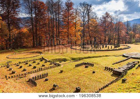 Romania Sarmizegetusa Regia. Dacian ruins Fortress in Orastie mountains.