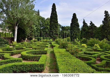Queluz Portugal - June 3 2017: National Palace of Queluz. Old Maze garden in Queluz garden. Baroque Rococo benchmark garden in Portugal. Masterpiece of landscape design 18th century