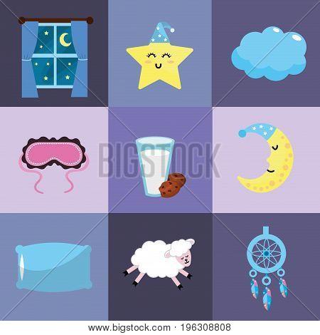 set sleeping thing with good dreams at night vector illustration