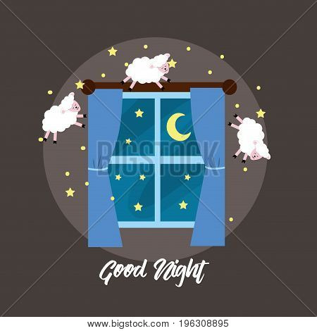 windows open with sheeps to good dream vector illustration
