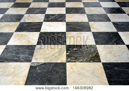 Floor white marble black close up photo