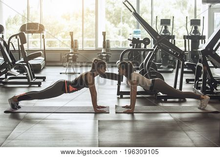 Young female friends exercise in the gym, plank pose