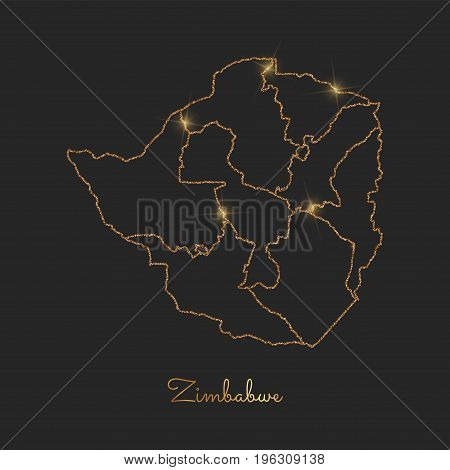 Zimbabwe Region Map: Golden Glitter Outline With Sparkling Stars On Dark Background. Detailed Map Of