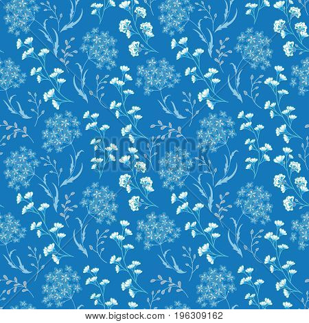 Cute Floral pattern in the small flower. Motifs scattered random. Ditsy print. Seamless vector texture. Printing with small colorful flowers. Blue ornate background.
