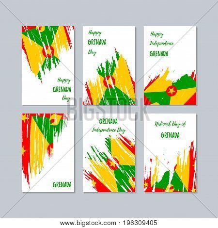 Grenada Patriotic Cards For National Day. Expressive Brush Stroke In National Flag Colors On White C