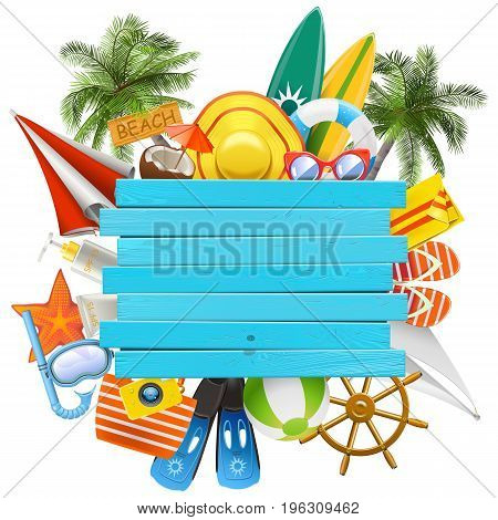 Vector Beach Accessories with Wooden Plank isolated on white background