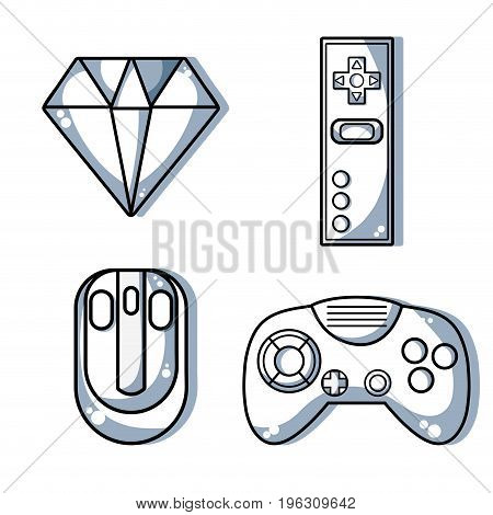 set videogame technology with electronic simulator vector illustration