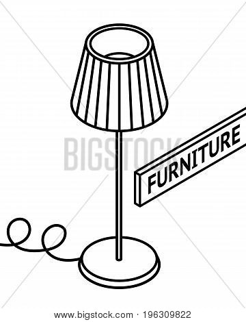 Isometric outline furniture. 3D line drawn isometric floor lamp. white background. Vector illustration.