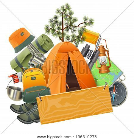 Vector Camping Concept with Tent isolated on white background