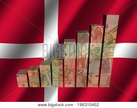 Currency graph on rippled Danish flag 3d illustration