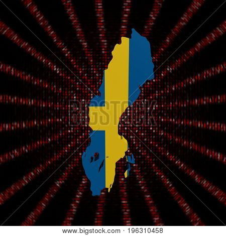 Sweden map flag on red hex code burst 3d illustration