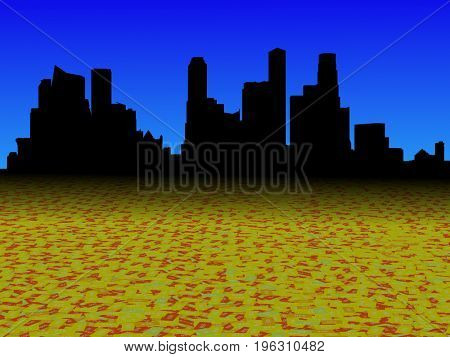 Singapore skyline with abstract dollar currency foreground 3d illustration