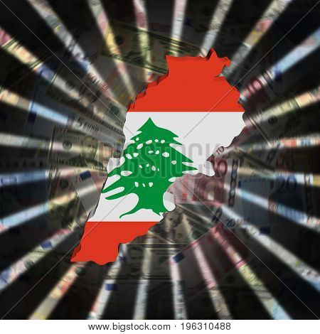Lebanon map flag on currency burst 3d illustration