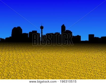 Calgary skyline with golden dollar coins foreground 3d illustration