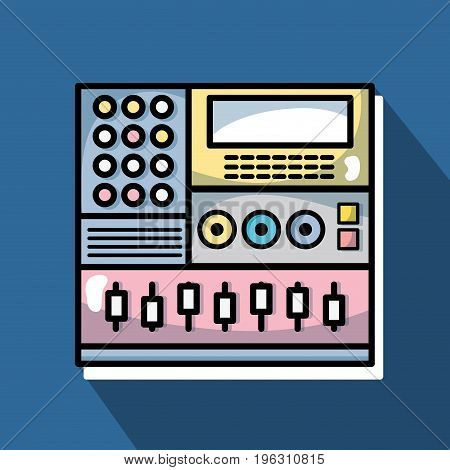 electronic audio console to play music performer vector illustration