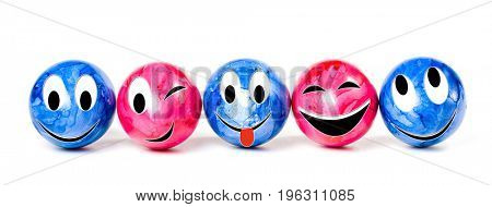 Row of colorful Easter eggs, isolated on white background. Funny characters from the original idea of the concept.
