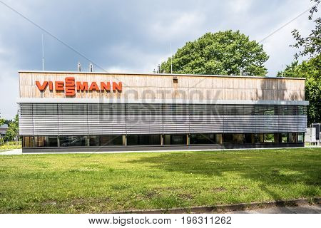 Hamburg , Germany - July 15, 2017: The company Viessmann is producing and selling all heating connected stuff in their Hamburg branch