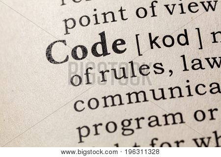 Fake Dictionary Dictionary definition of the word code. including key descriptive words.