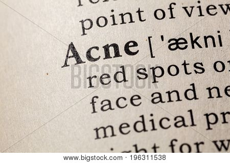 Fake Dictionary Dictionary definition of the word Acne. including key descriptive words.