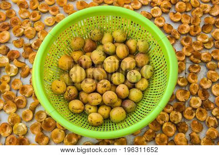 Dried natural and organic natural apricot fruit dried in the sun, pleasure apricot dry in the process of drying ...