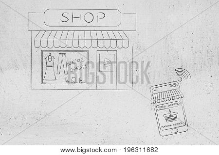 Smartphone With Shopping Basket In Front Of Store