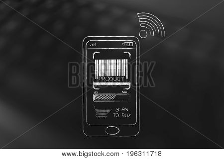 Smartphone With Bar Code And Cart On The Screen